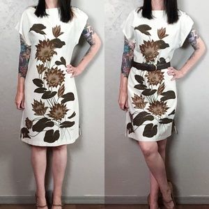 Vintage 1960s Hand Painted Cap Sleeve Shift Dress